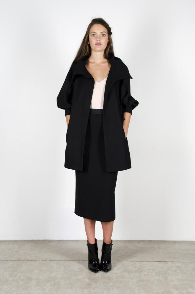 City lights Coat - Black Felt  Chimerial Camisole - Blush  Orlando skirt - Black
