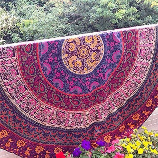 Pink and Purple circular design beach cover up/wrap