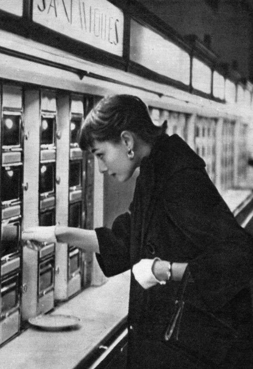 Audrey Hepburn at an automat in New York, 1950s