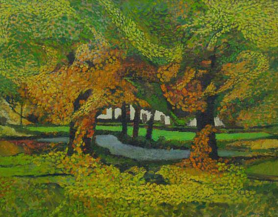 Autumn's Leafy Luxury  John Elwyn  Oil on canvas c.1980  79 x 90 cm