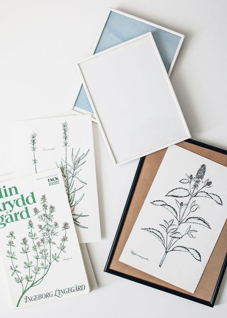 Dags för återbruk! Illustrerade böcker blir tavlor och ett träskrin målas om. Ta tillvara på det du har hemma eller hittar på loppis.