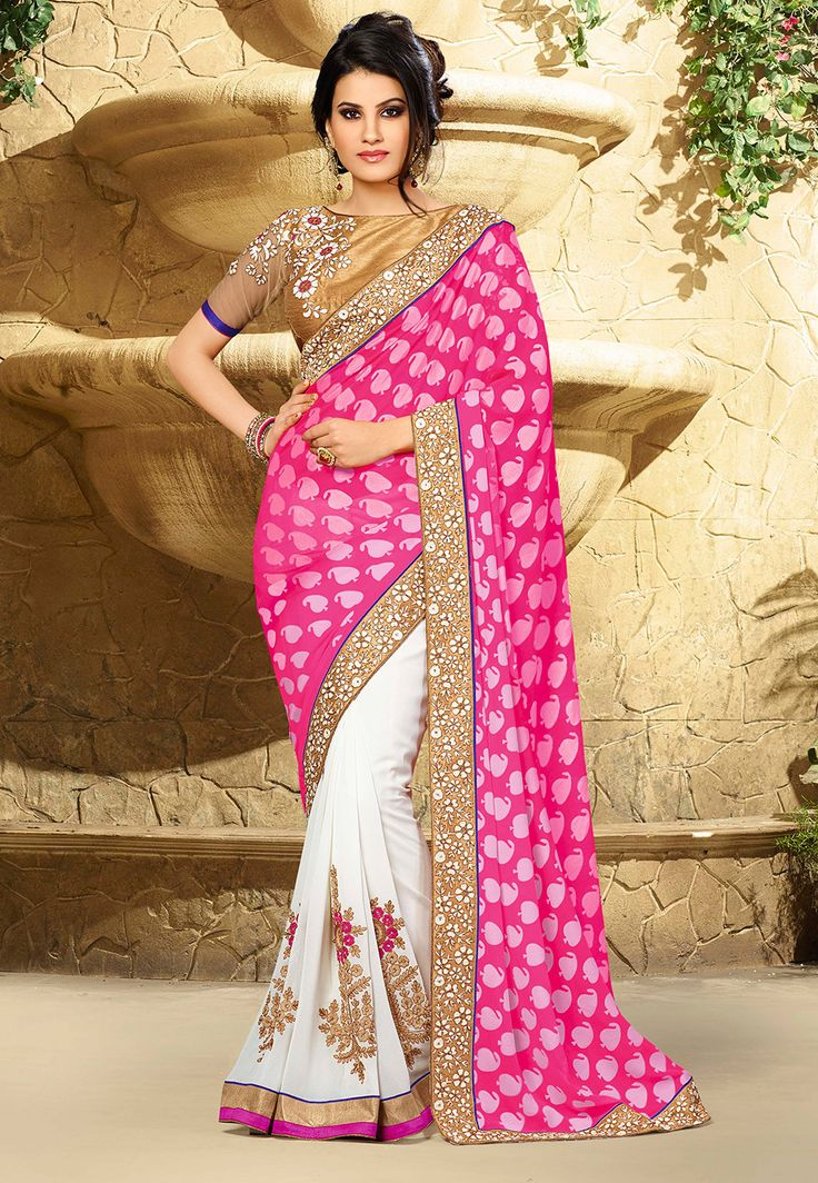 Pink Faux Georgette Brasso And Faux Georgette Saree With