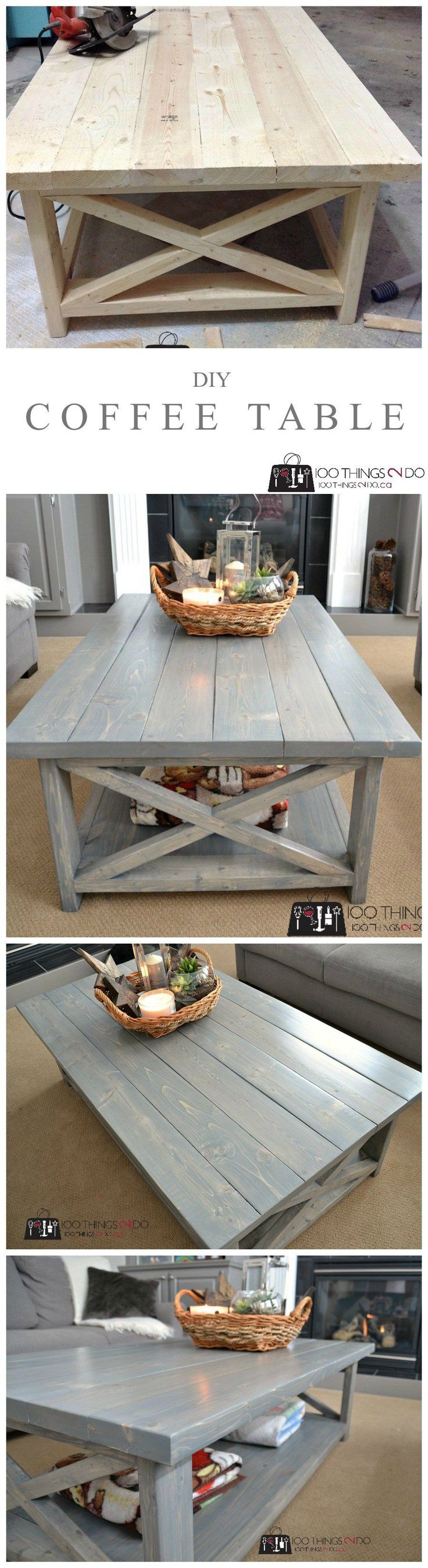 Diy rustic wood table - Diy Coffee Table Rustic X