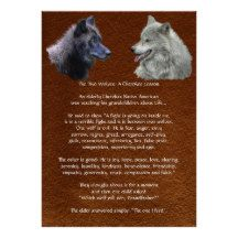 Two Wolves Cherokee Lesson Wildlife Poster