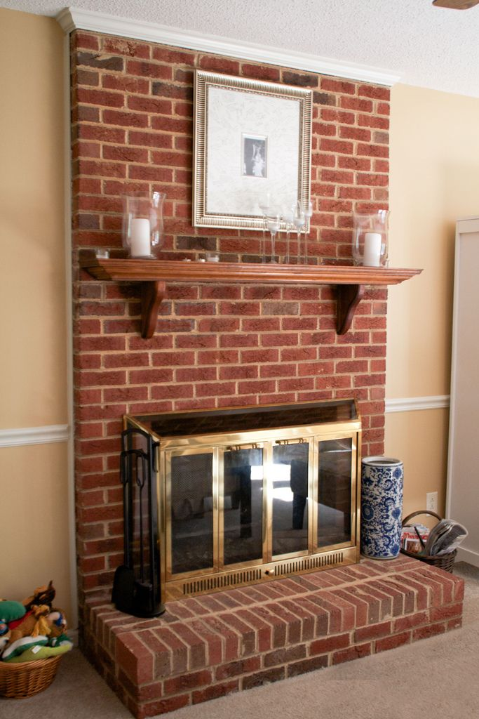 Old brick fireplace makeover fireplace pinterest old bricks fireplace makeovers and bricks - Fireplace mantel designs in simple and sophisticated style ...