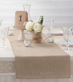 """Tischläufer aus Jute """"Vintage-Hochzeit"""""""