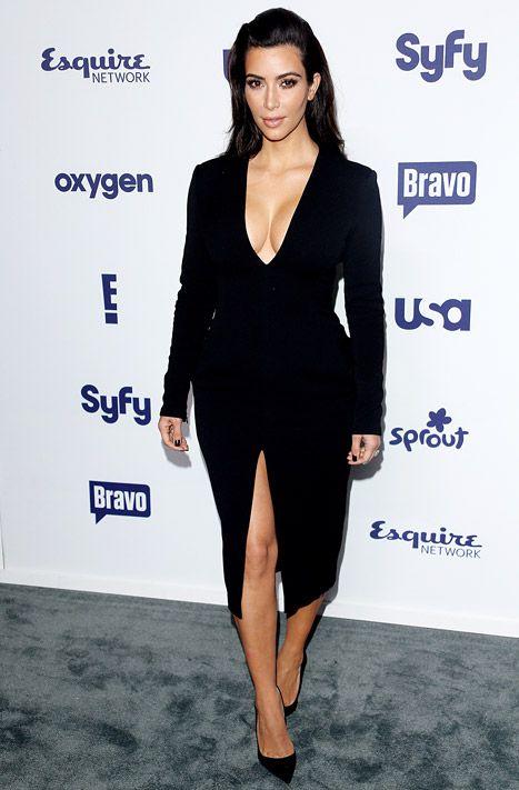 Kim Kardashian Flashes Major Cleavage, Lots of Leg at NBC Upfronts - Us Weekly