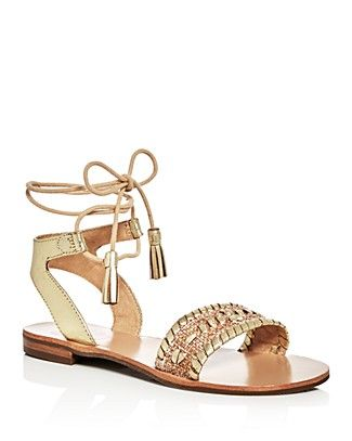 Jack Rogers Tate Raffia Metallic Ankle Tie Sandals | Metallic leather and raffia upper, leather lining, rubber sole | Imported | Fits true to size, order your normal size   | Open toe; lace up ankle t
