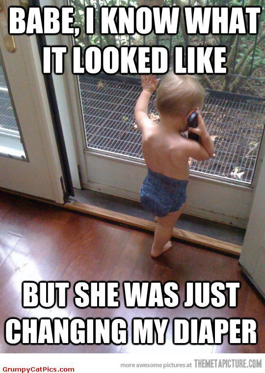 Cute Baby Talking On The Phone With Girlfriend Funny Captions Picture ◬