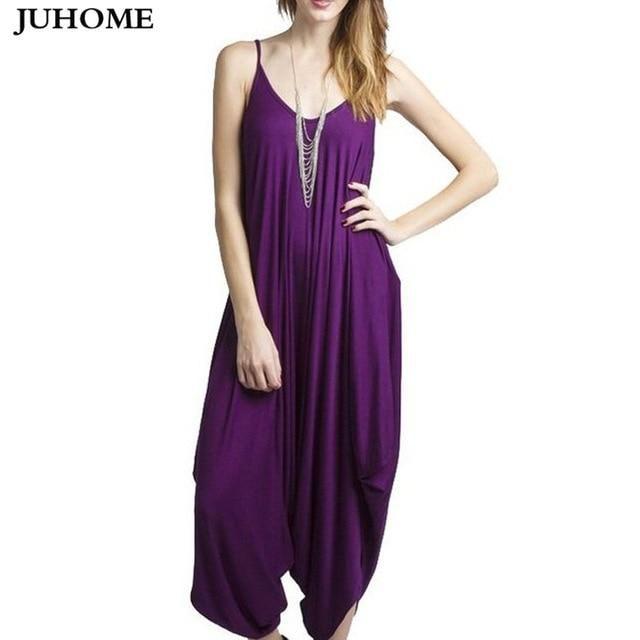 5f33438f72a9 Summer Harem Romper Long Pants Jumpsuit Coveralls Women s Playsuit  Spaghetti Strap Deep V-Neck Plus