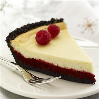 This cheerful double layer cheesecake is an indulgent new take on the traditional Red Velvet Cake.