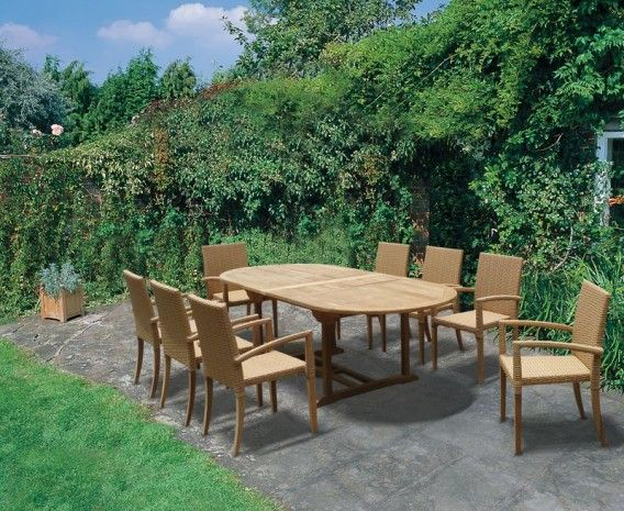 St Tropez Extending Teak Table and 8 Rattan Stacking Chairs Set. 53 best Rattan garden furniture images on Pinterest   Rattan