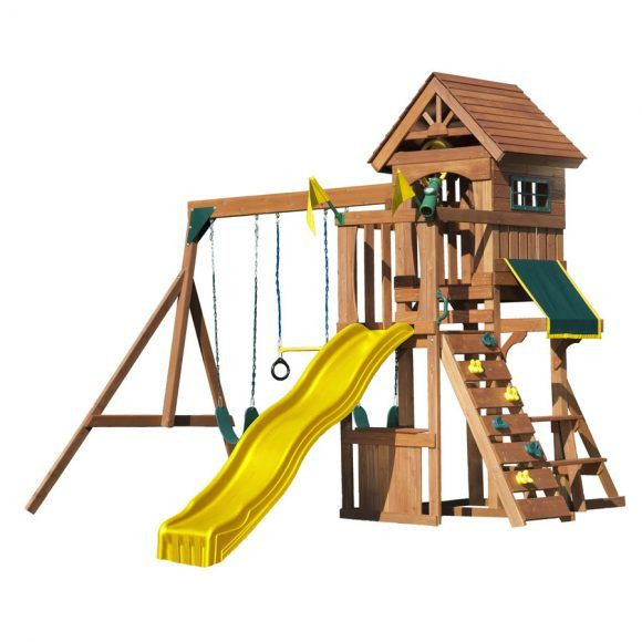 wooden tree house swing play sets with yellow plastic sliding as well as play equipment for toddlers and indoor swing sets for toddlers 580x580