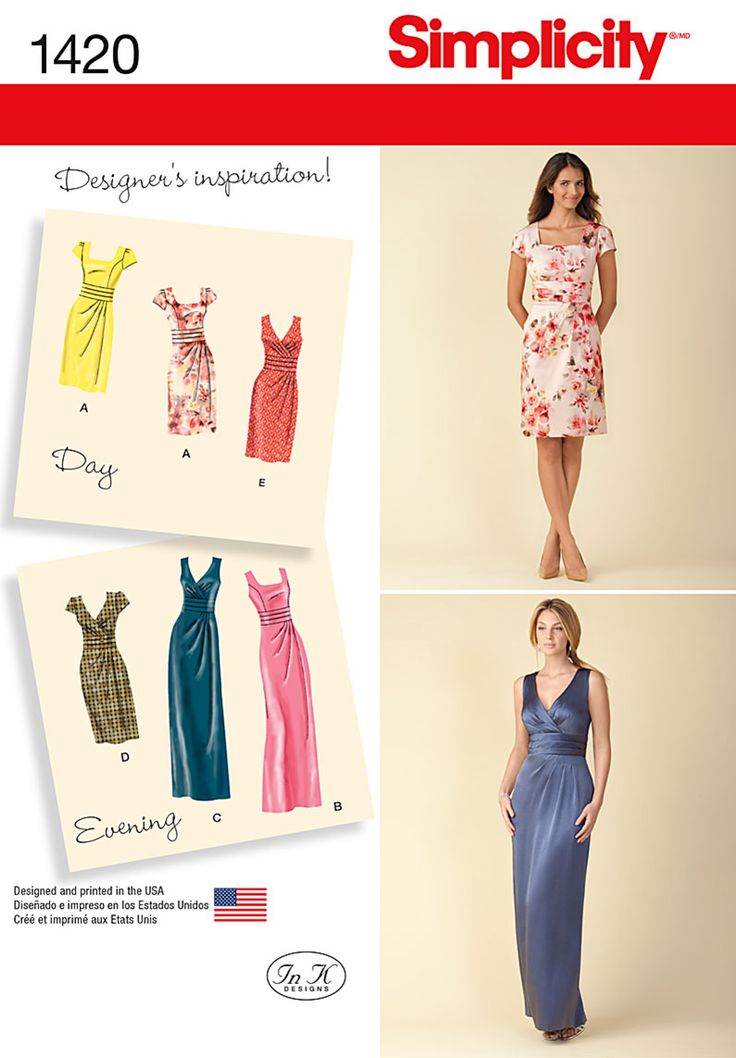 Simplicity Creative Group - 1420 Misses' Dress in Two Lengths with Bodice Variations
