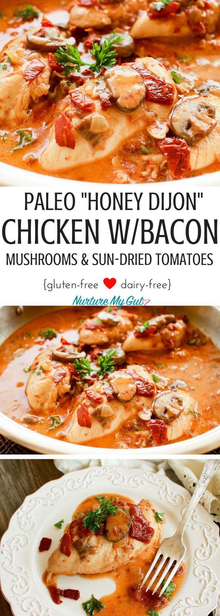This Paleo Honey Dijon Chicken with Bacon, Mushrooms & Sun-Dried Tomatoes is the best clean eating, finger licking chicken recipe made in 35 minutes or less!  Easy one pot meal the whole family will love! Paleo, Dairy Free, Gluten Free, Corn Free.