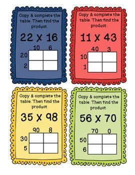 Partial Products 2 Digit Multiplication Task Cards - COMMO