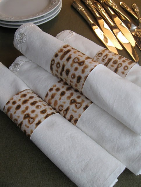 Make color copies of a matzo. Cut it into strips to make napkin rings or to surround a votive candle.