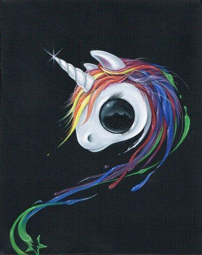 Sugar Fueled Unicorn Rainbow Pony Splash Series Paint Color Pop Surrealism Lowbrow creepy cute big eyes eye art print