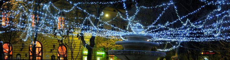 "Before Christmas in my city, "" fountain "" Kiskunfelegyhaza, Hungary, Nikon Coolpix L310, 18.6mm, 1s, ISO200, f/4.5, panorama mode:segment 3, HDR-Art photography, 201612101703"