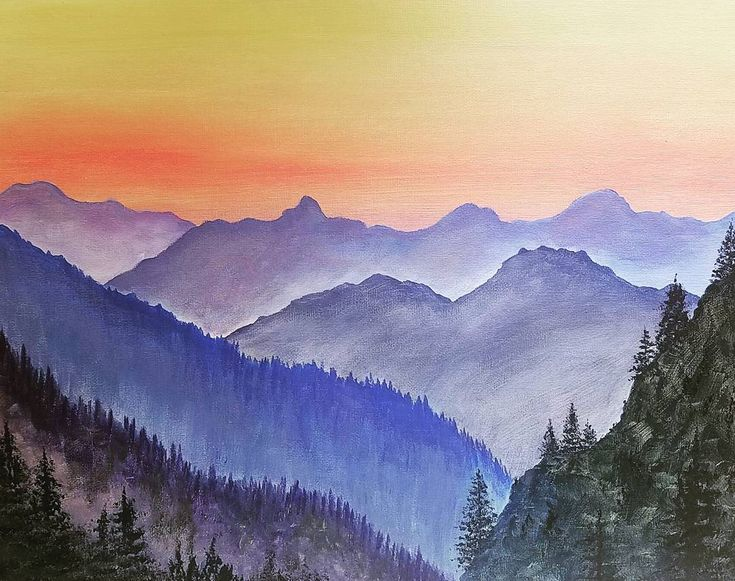 Simple Mountain Landscape Acrylicpainting Free Tutorial Angelafineart Youtube
