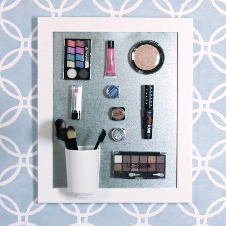 Makeup Organization Organize your makeup with this DIY magnetic makeup organizer Diy Makeup Organizer, Make Up Organizer, Nifty Diy, Cool Diy, Linen Closet Organization, Makeup Organization, Wall Organization, Makeup Storage, Home Crafts