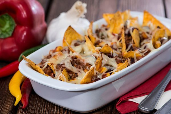 Game Day Recipe: Nachos with Chili con Carne  (I'll leave out beans & use Joseph;'s Pitas for homemade tortilla chips -- THM friendly then.