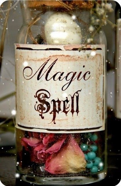 Magic Spell: Halloween Parties, Magic Spelling, Halloween Costumes, In A Jars, Parties Favors, Diy Halloween Decor, Halloween Diy, Rose Petals, Halloween Ideas