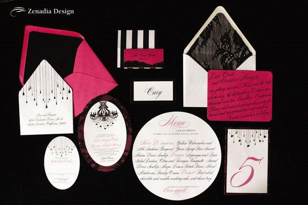 black wedding invitation   Black & Fuchsia Lace Wedding Invitations