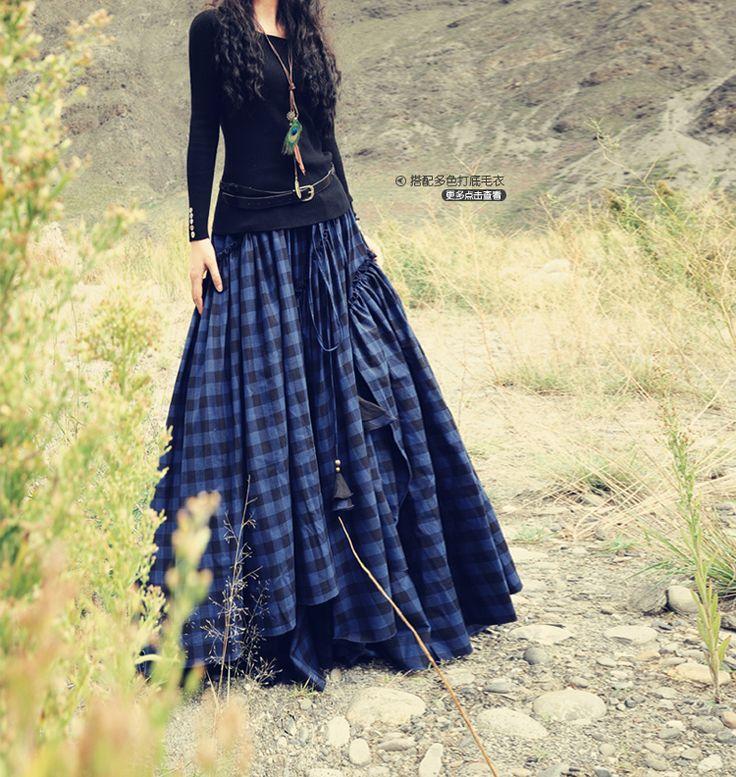Hi 2013 new winter sowing cotton bandana plaid skirt swing skirts thick Scottish song - Taobao
