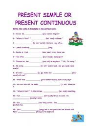 English worksheet: Present Simple Vs Present Continuous.