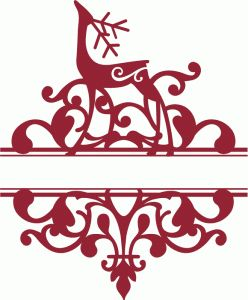 Silhouette Design Store - View Design #68417: split standing reindeer flourish damask