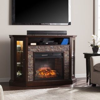 There's one in white!  Harper Blvd Ratner Faux Stone Corner Convertible Infrared Electric Media Fireplace - Free Shipping Today - Overstock.com - 19427601 - Mobile