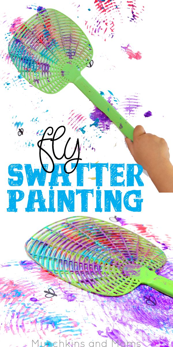 Fly swatter painting- what a blast! Preschoolers would love this process art activity! - Process Art for Kids