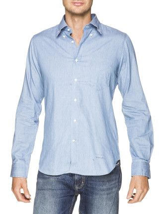 Gant Rugger R. Luxury Indigo Hobd Shirt Australia Free Delivery