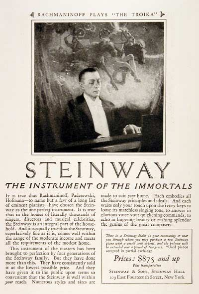 """Steinway ad from 1924 - """"And each waits only your touch upon the ivory keys…"""""""