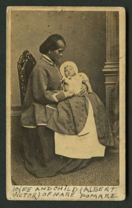 Hariata (the wife of Hare Pomare, the son of Pomare II, of Ngati Manu) with her son, Albert Victor, at Windsor Castle, 1863 - by William Bambridge. During the first tour of the UK by Maori people, the Queen noticed that Hariata Pomare was pregnant and expressed a wish to be the child's godmother. He was the first Maori known to have been born in England. Fascinating story at the link.