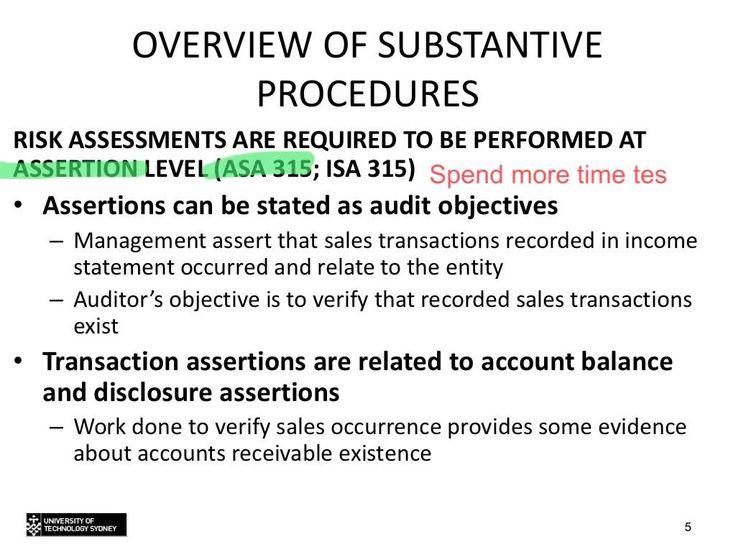 Topic 8 - Basics of substantive testing
