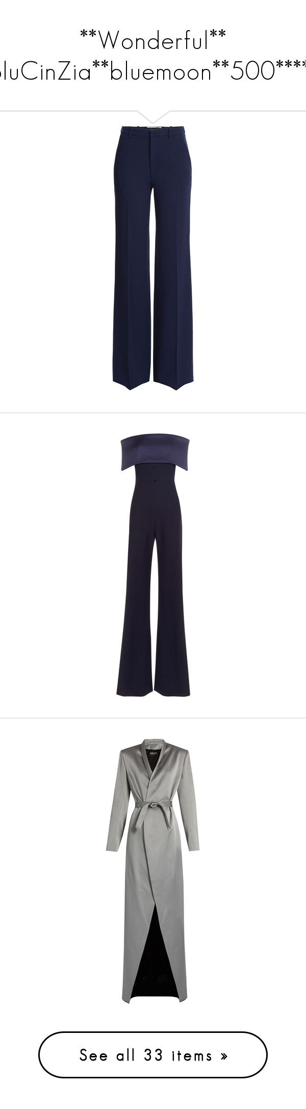 """**Wonderful** BluCinZia**bluemoon**500*****"" by bluemoon ❤ liked on Polyvore featuring pants, trousers, bottoms, roland mouret, blue, zipper trousers, blue pants, zipper pants, wool pants and slim fit trousers"