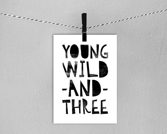 3rd Birthday Card // Instant Download Printable Young Wild And