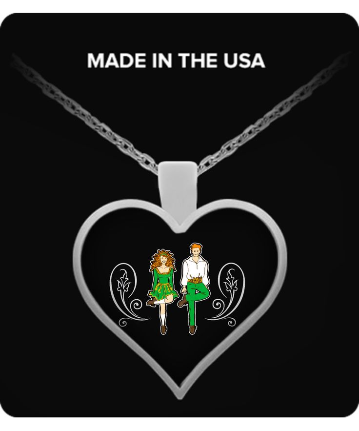 This beautiful hear-shaped necklace celebrates the unique style and history of Irish Dancing
