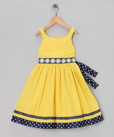 Yellow & Navy Eyelet Daisy Dress - Infant