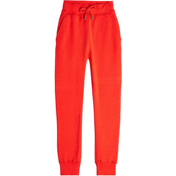 Dsquared2 Cotton Sweatpants (3 430 ZAR) ❤ liked on Polyvore featuring activewear, activewear pants, red, cotton sweatpants, red sweatpants, cotton sweat pants, long sweatpants and red sweat pants