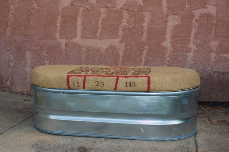 Upcycled Storage Bench: Galvanized Farm Stock Tank with Coffee Sack Lid