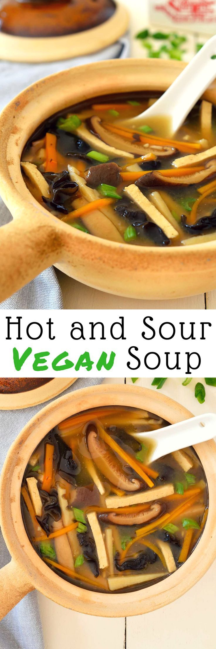 Vegan hot and sour soup is a quick and easy soup to warm you up on a chilly evening. Even better than takeout because it's totally plant-based!