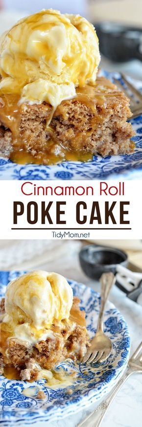 """""""Transform a boxed-mix cake into a delicious cinnamon roll-flavored poke cake. Serve with vanilla ice cream and caramel sauce and watch it disappear quickly."""" 