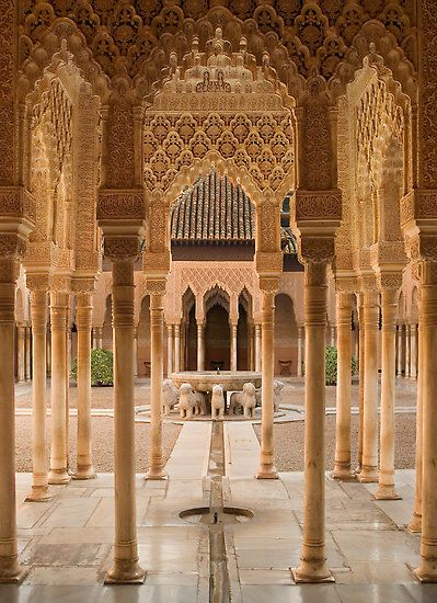 Plaza de Leones at Alhambra Palace in Granada, Spain - I could sit here all day staring at all the intricate details in the walls and pillars