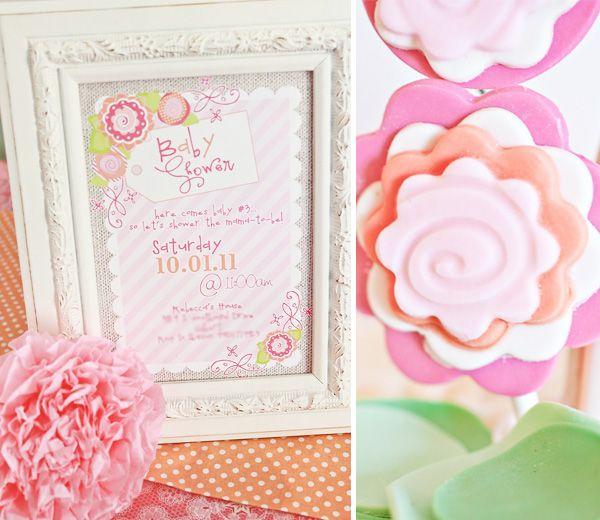 Love these colorsVintage Flower, Shower Ideas, Frames Invitations, Pink Flower, Baby Shower Invitations, Flowertreebabyshower 03 Jpg, Parties Ideas, Frames Ideas, Flower Baby