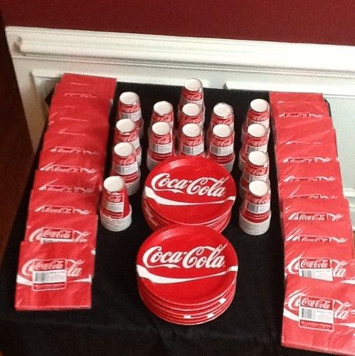 Coca Cola Coke Party Supplies Plates Cups Napkins 50 Packs 576 Items WOW WOW WOW   eBay