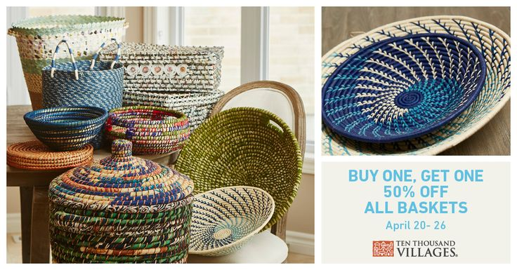 Just in time for Spring cleaning! April 20-26, Buy One Basket, Get One 50% Off! #organize #fairtrade