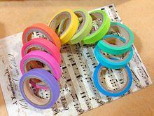Novo 10 rolos do arco-íris doce cor Patterned fita Washi japonês Paper etiqueta decorativa Masking Tape Scrapbooking ferramentas, 7.5 MM * 5 M(China (Mainland))